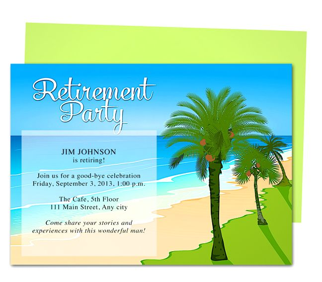 Tropical Oasis Retirement Party Invitation Templates Use with Word