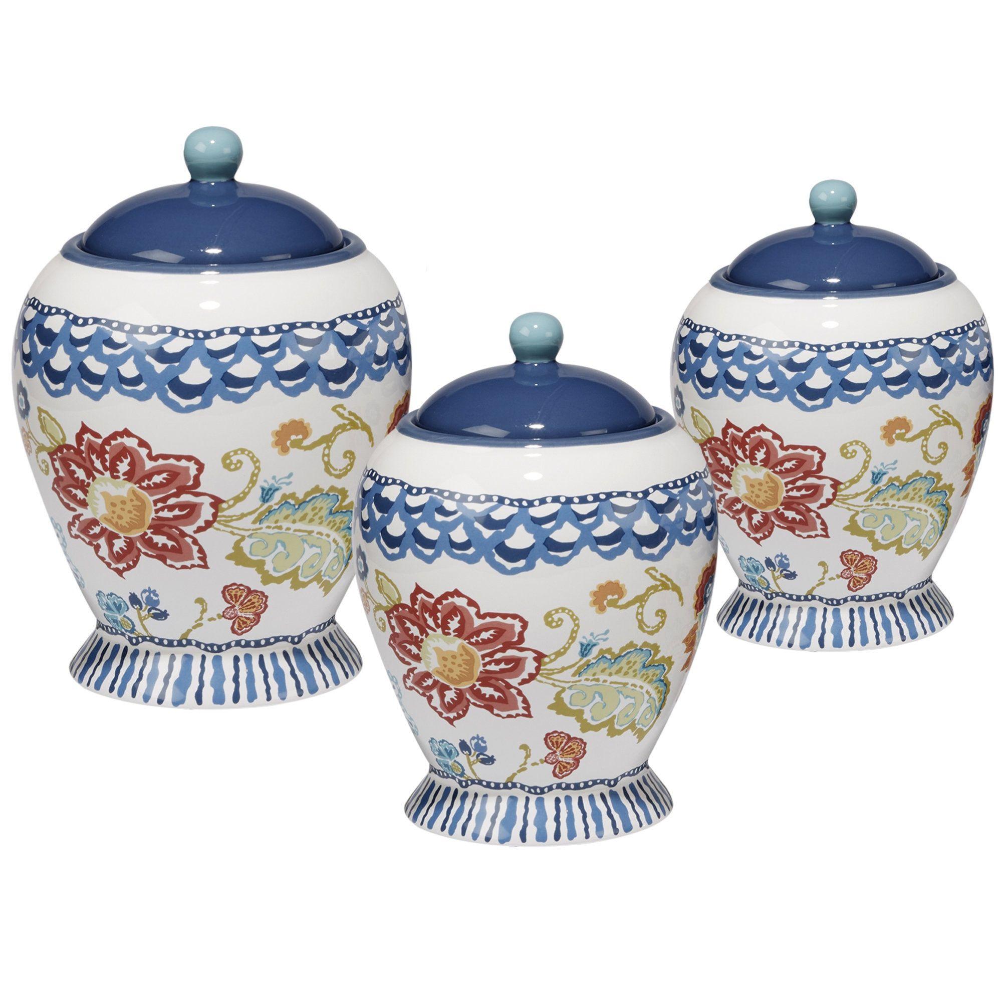 Certified International San Marino Multicolor Ceramic Canister Set ...