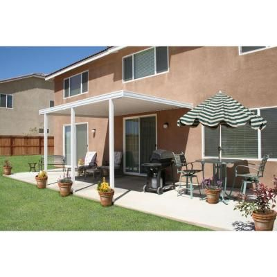 Four Seasons Building Products 12 ft. x 10 ft. White Aluminum Attached Solid Patio Cover with 3 Posts (20 lb. Live Load)-1252006701012 - The Home Depot