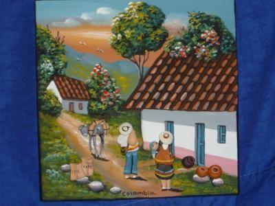 Cuadro artesanal cuadro madera ceramica pintura vinilo for Decoracion en ceramica artesanal