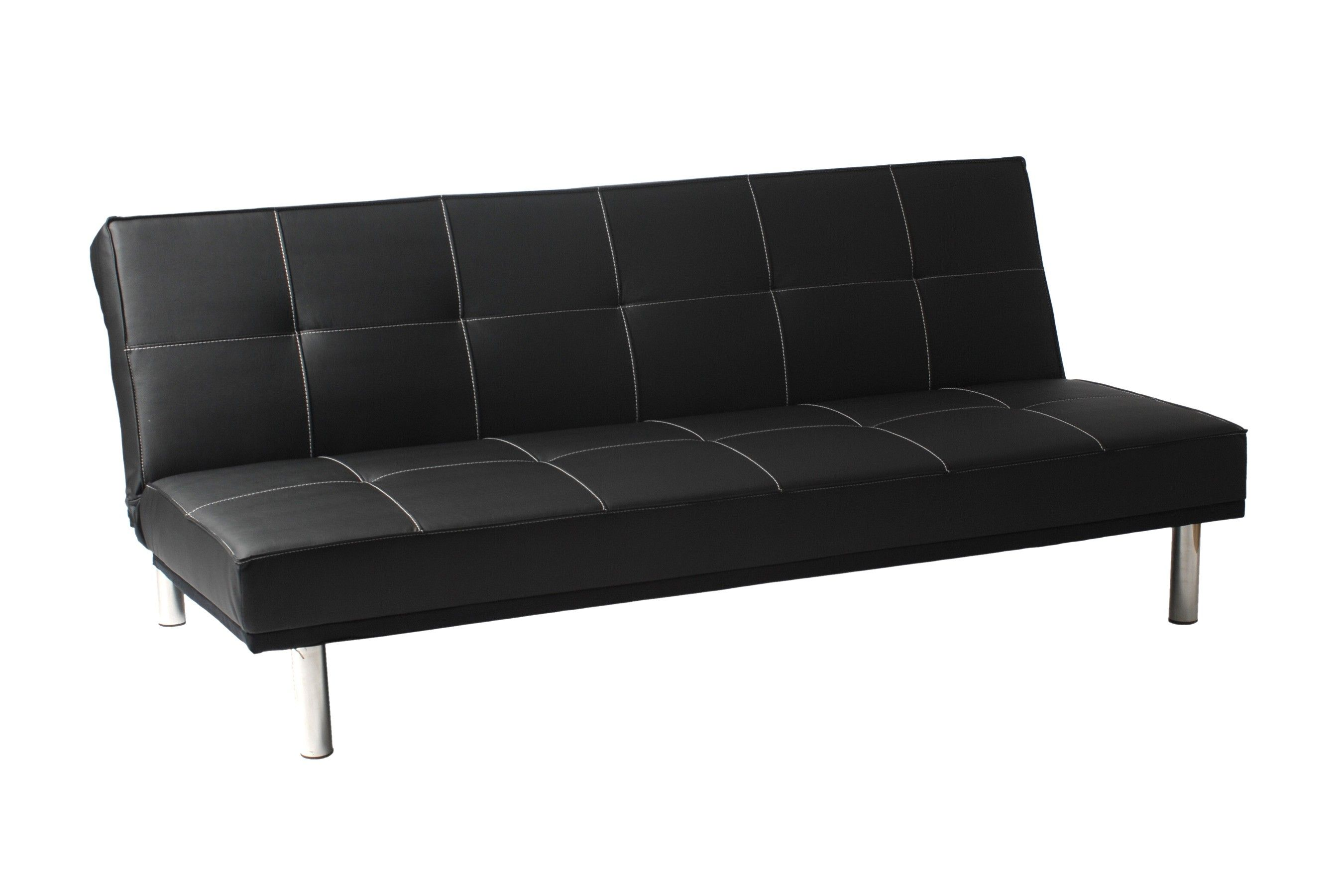Sven Sofa Bed Black Leatherette Stainless Steel By Euro Style Modern Sofa Bed Futon Cushions Sofa Bed Black
