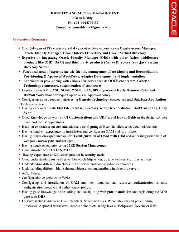 Identity and access management resume sample template , Identity - management summary template