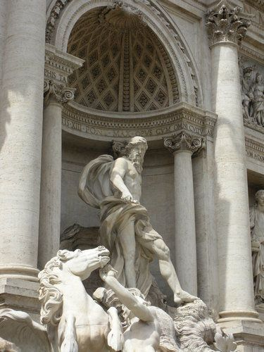 The statue of Oceanus, the god of the sea of the Trevi Fountain in Rome.