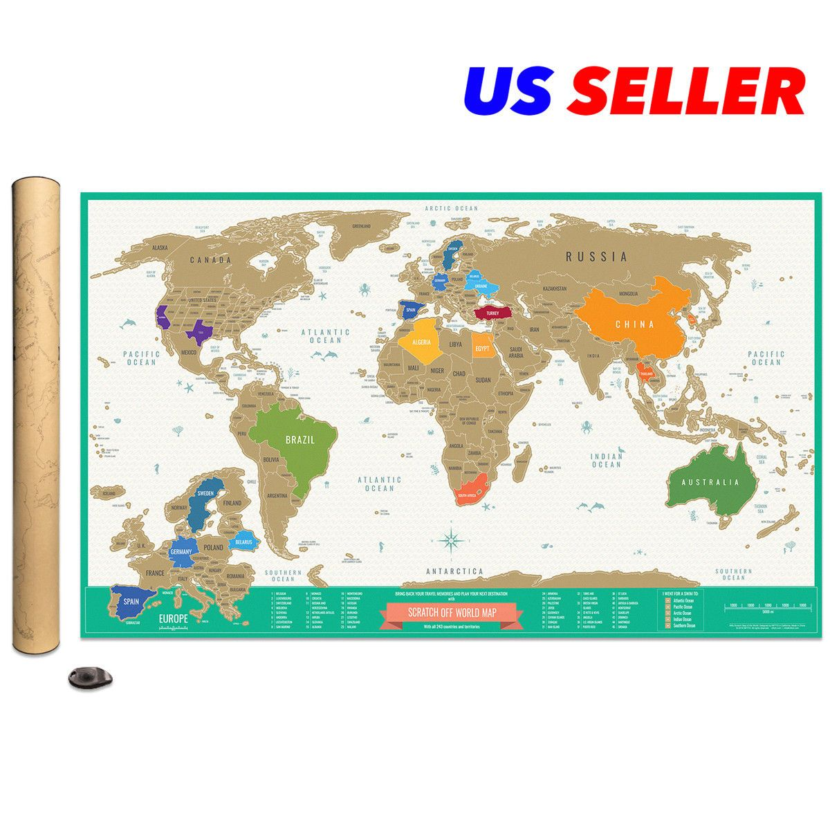 Deluxe scratch off travel tracker world map detailed usa and europe deluxe scratch off travel tracker world map detailed usa and europe gift package 112568714525 for 1595 gumiabroncs Image collections