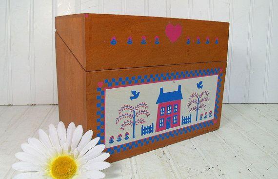 Vintage Oversized Wooden Recipe Box Retro Extra Large Wood File