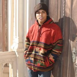 Red Wool Mens Jacket, perfect for the cold winter, beautiful handmade jacket from the hands of Mayan women in Guatemala. Perfect and unique jacket to add some festive spirit to your holiday wardrobe! Jacket is full lined. Made of 100% wool.