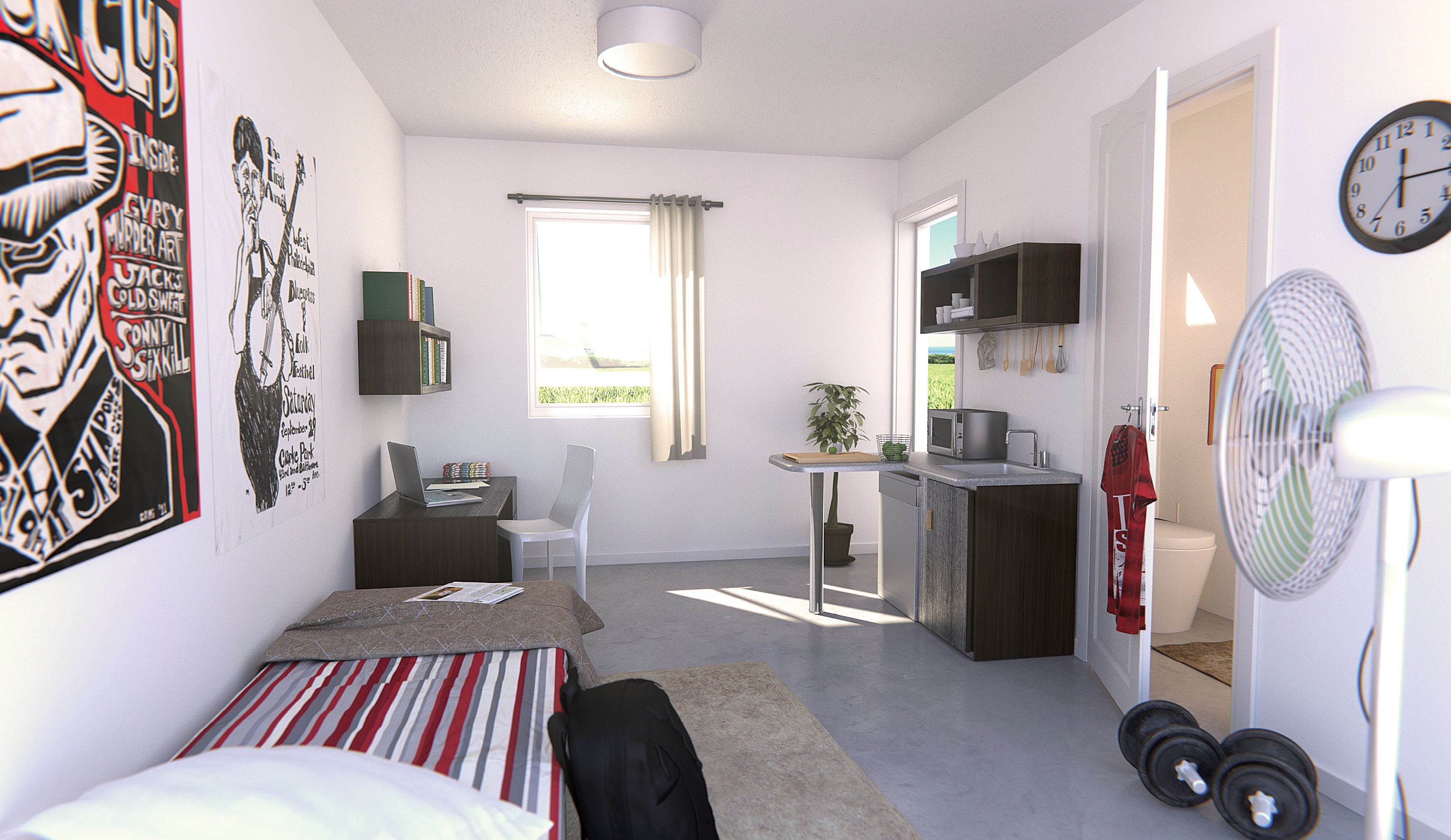Studio bedroom with bathroom & kitchenette