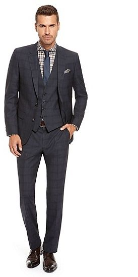 cef17d611 HUGO BOSS - Huge/Genius WE Slim Fit, Super 100 Virgin Wool Check 3-Piece  Suit - Navy