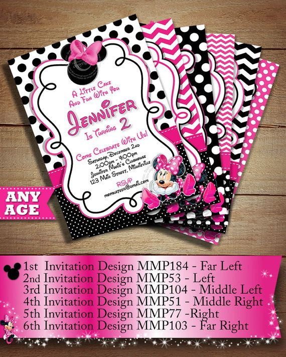 Pink White Black Polka Dot Minnie Mouse PRINTABLE Birthday Invitation DIY Party Printables