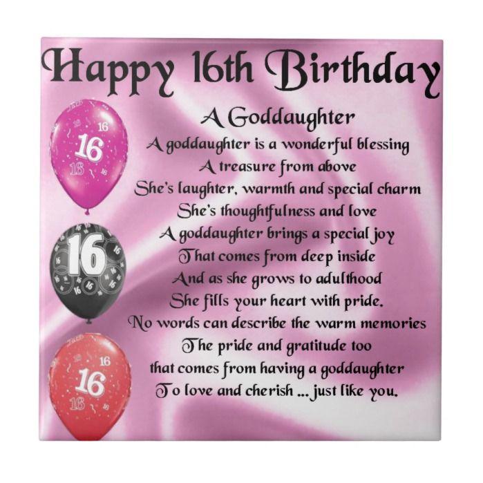 Goddaughter Poem 16th Birthday Tile Zazzle Com In 2021 16th Birthday Quotes 16th Birthday Wishes Niece Birthday Wishes