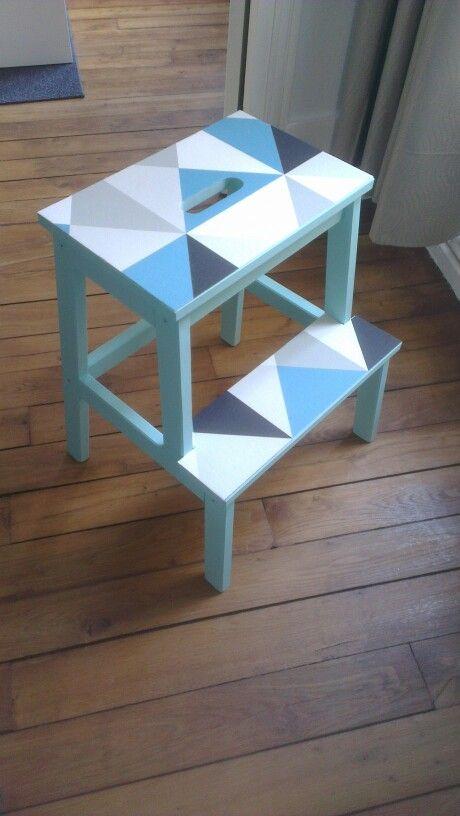 Diy Marchepied Ikea Customise Peinture Arty Couleur Paraiso Et