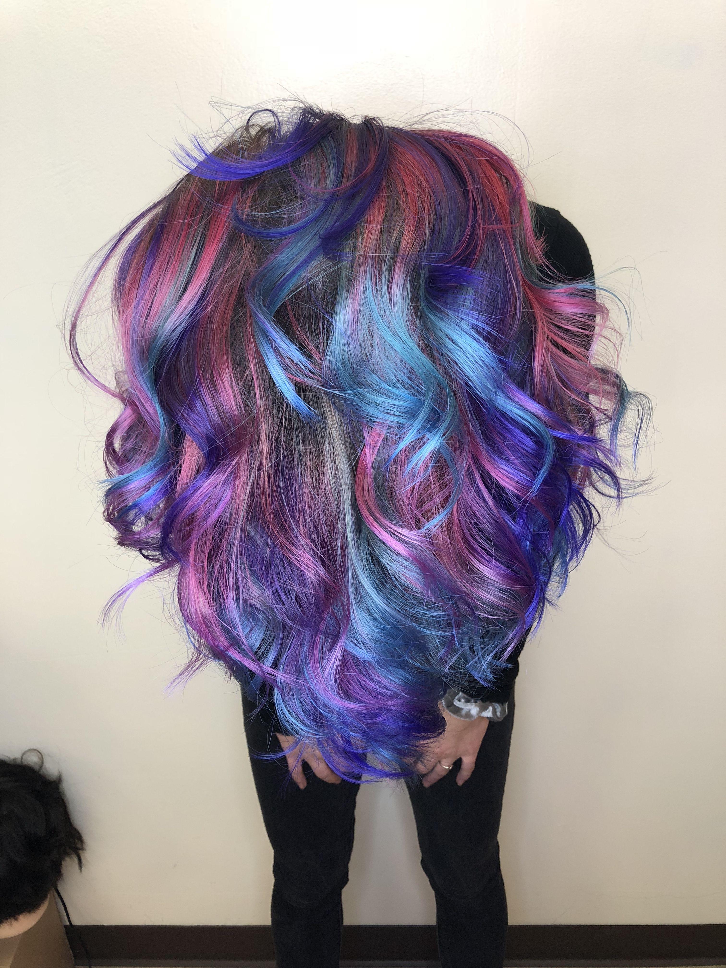 Mermaid Hair Mermaid Mermaidhair Pink Purple Teal Blue Pinkpurpleandtealhair Hair Beachywaves Rainbowhair Hair Styles Hair Beauty Hair