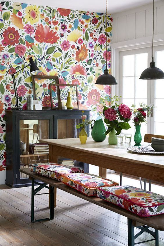 Best A Bold And Bright Floral Wallpaper Can Make A Fun Feature 400 x 300