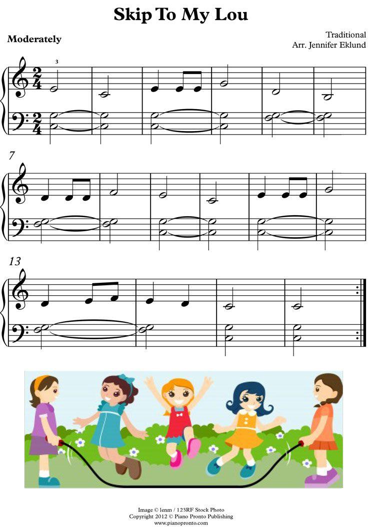 Skip to My Lou | Piano sheet music, Beginner piano music ...