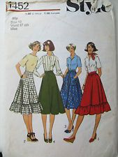 Vintage Sewing Pattern -1970s Boho Tiered Skirts (Size 12)