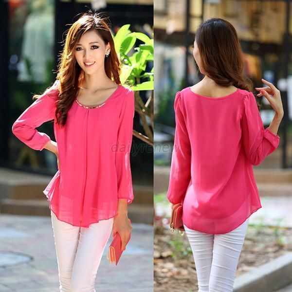 New Chiffon Casual T Shirt Loose Long Sleeve Women Tops,Hot Pink,S