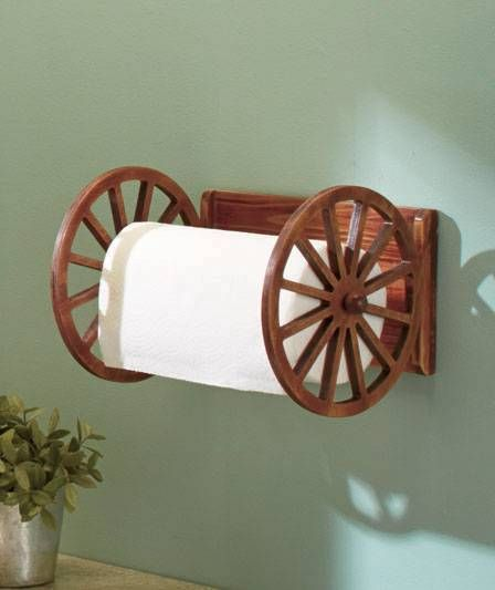 Country Western Wagon Wheel Kitchen Paper Towel Holder Sink or Corner Shelf New