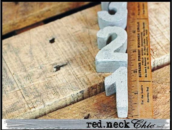 redneck Chic concrete numbers by redneckchic on Etsy, $22.00