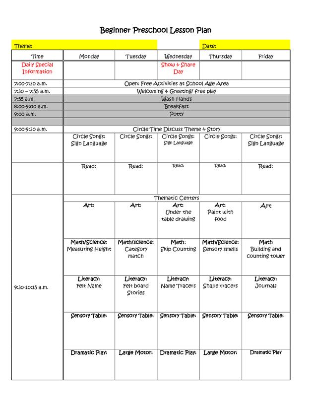 Beginner Preschool Lesson Plan Template By Teotwawki99 Preschool