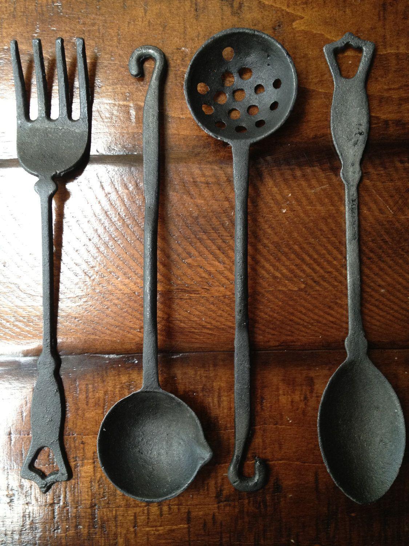 Vintage cast iron utensil set holder 60s like new via etsy estate sale finds - Wrought iron silverware ...