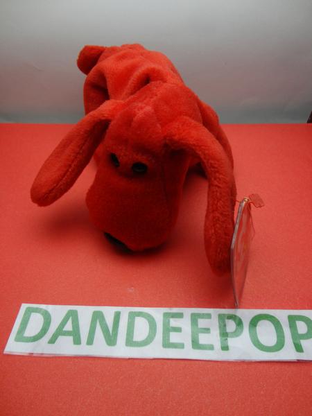 "TY Beanie Babie 1996 Rover Red Dog Stuffed animal toy Original w/ tags 7"" find me at www.dandeepop.com"