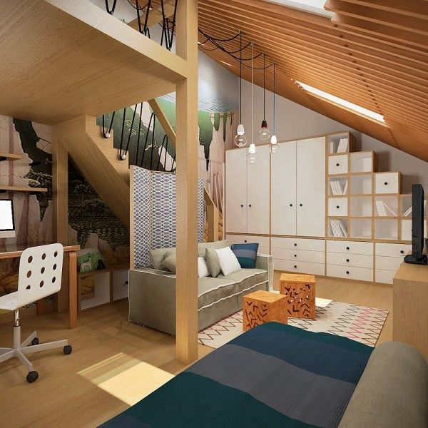 From pitched ceilings and lofted beds to creatively colorful area rugs these three rooms would be fit for any young artist who is not afraid of heights