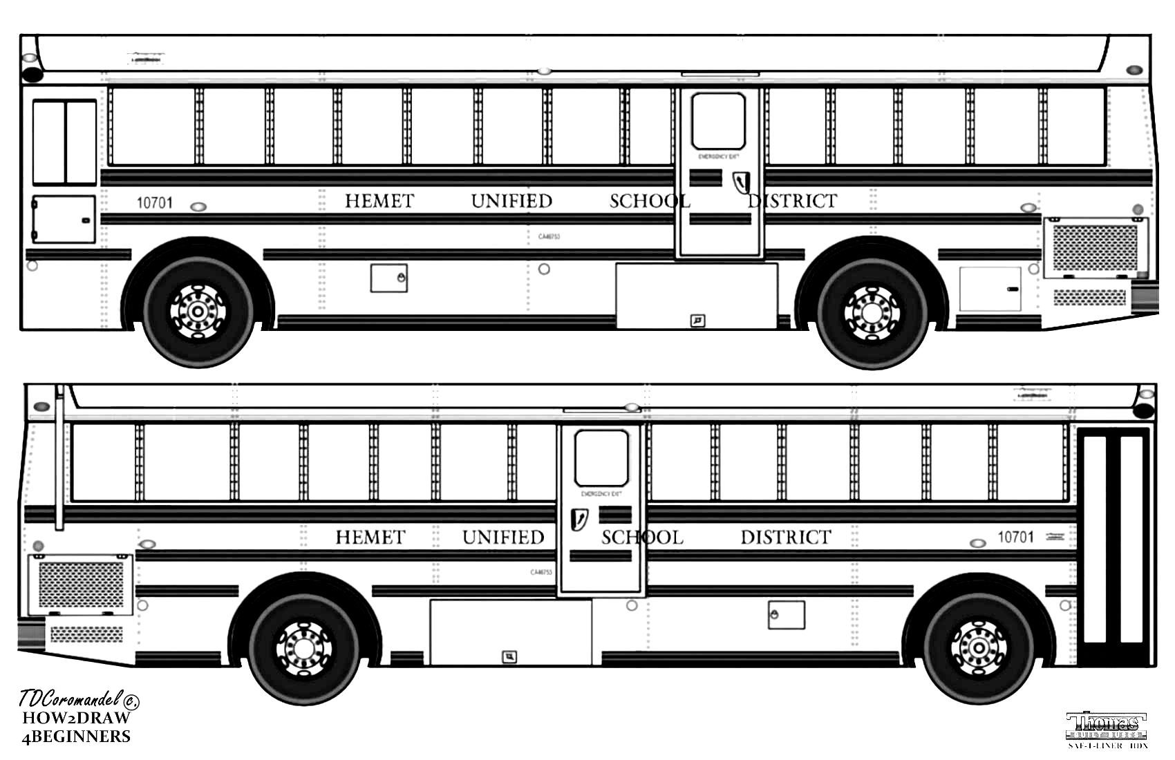 Californian School Bus To Color In Thomas Built Buses Saf T Liner