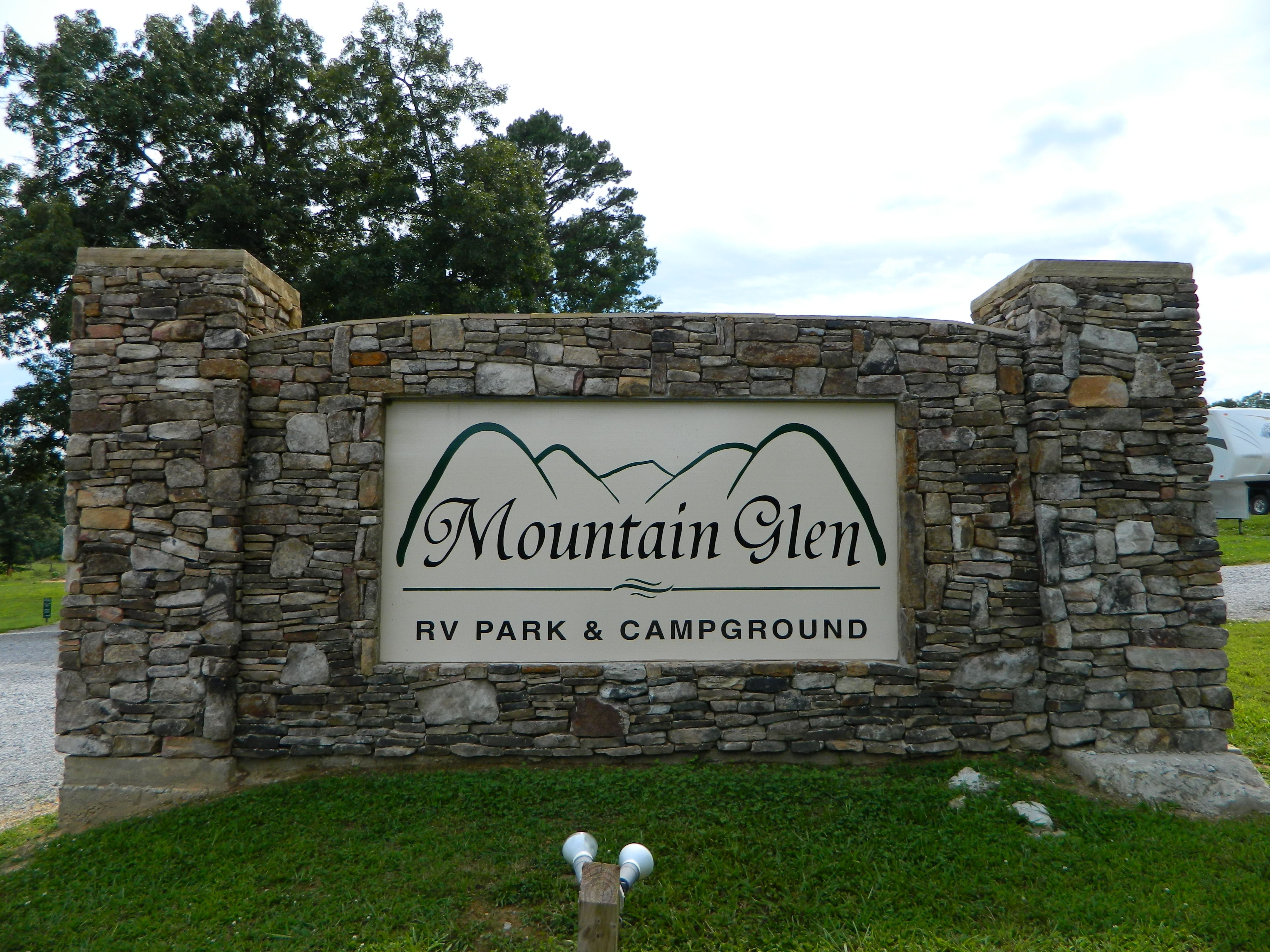 One Of Two Entrance Signs At Mountain Glen Rv Park Campground In Pikeville Tn Minutes From Fall Creek Falls State Rv Parks Campground Camping Destinations