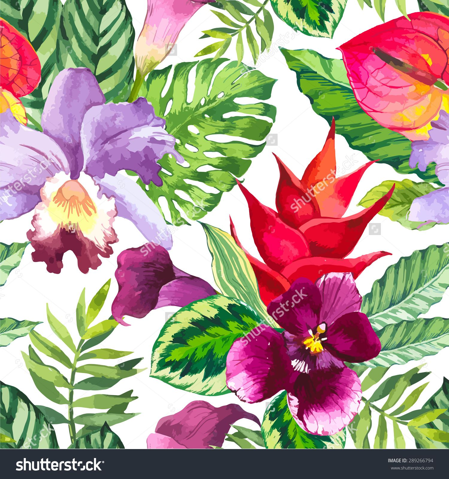Vector Illustration With Watercolor Flowers Beautiful Seamless Background With Tropical