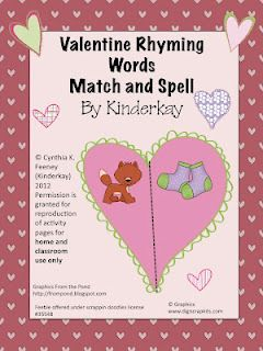 Valentine Rhyming Words Match  Rhyming words Therapy and School