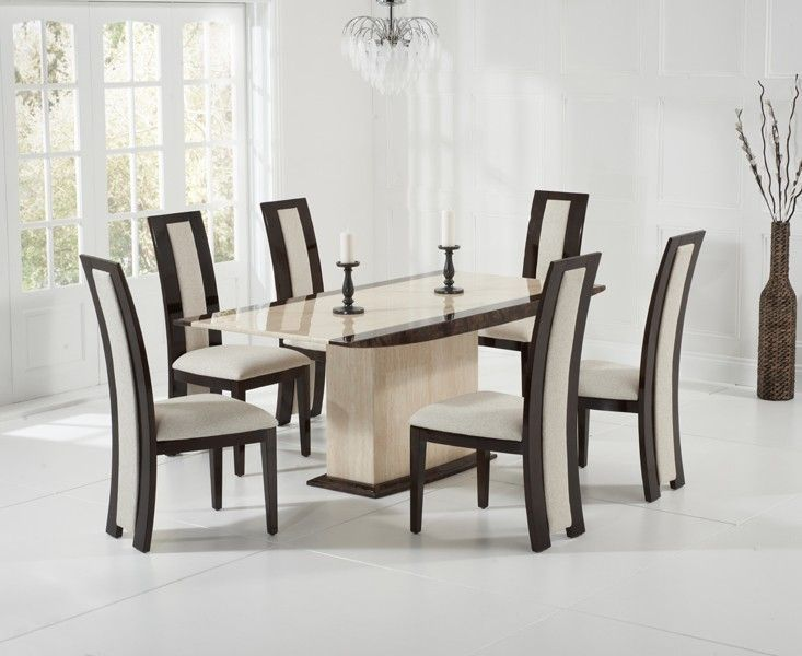 The Alba 180cm Marble Dining Table In Cream And Brown Is A Remarkably Stunning Table With A Clean De Dining Table Marble Marble Dining Oak Furniture Superstore