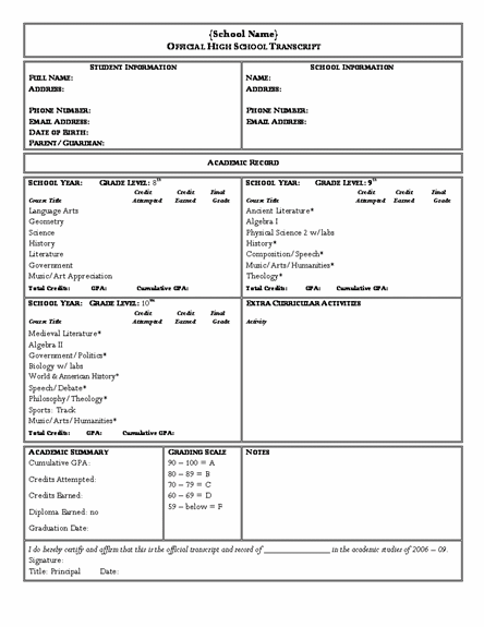 High School Transcript Form Template - Bing Images | High School