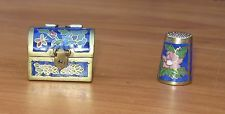Very Old Chinese Brass Cloisonne Box With Thimble