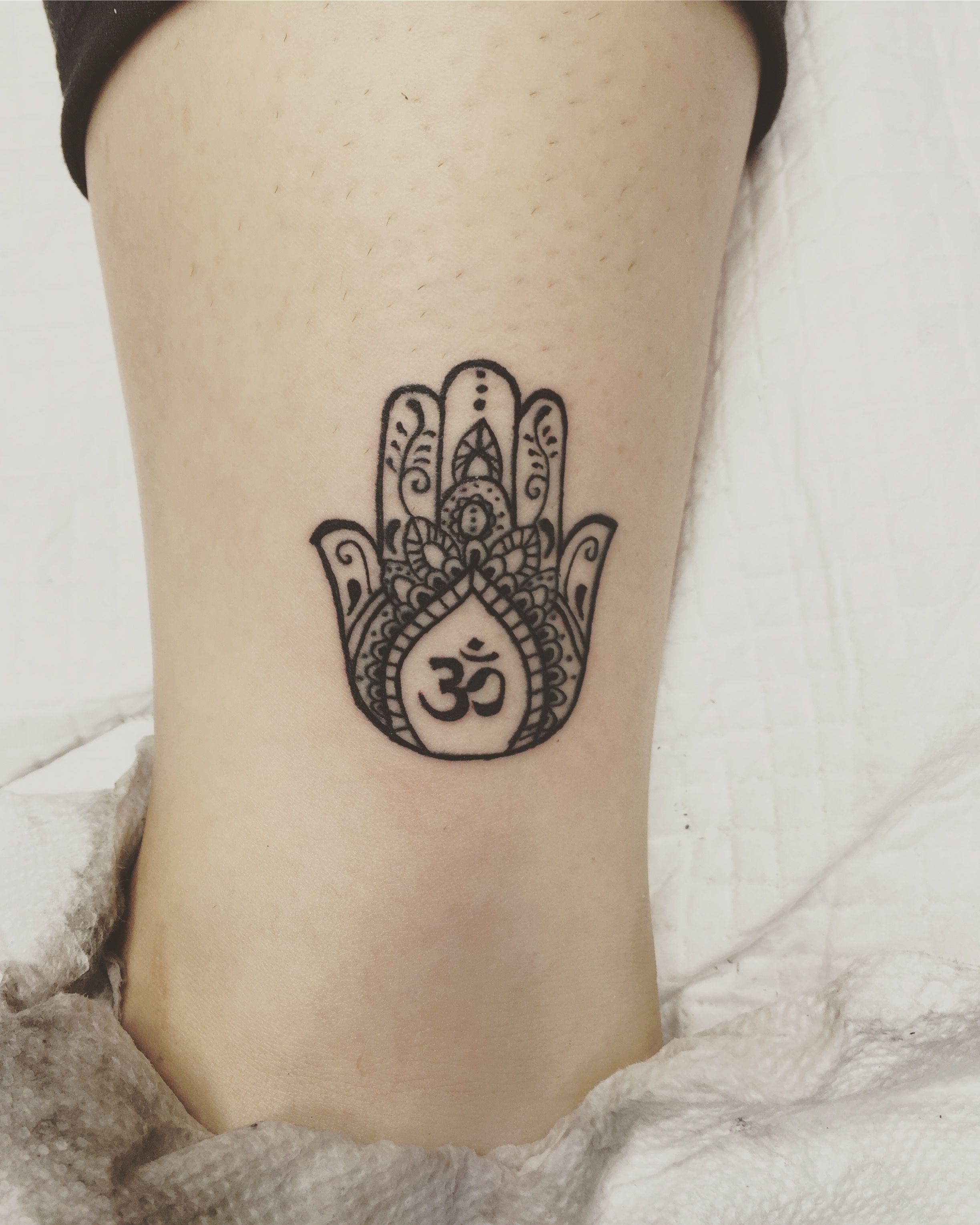 58ef5a1f4 My third tattoo. Hamsa and Aum | Tattoos | Tattoos, Hamsa tattoo ...