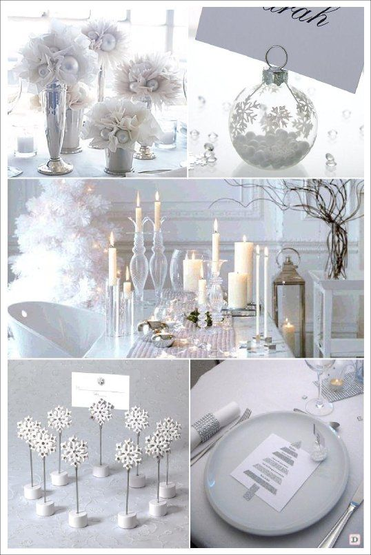 Decoration table noel blanc tulle marque place boule flocon menu sapin glitter new year angel - Decoration de table de noel blanche ...