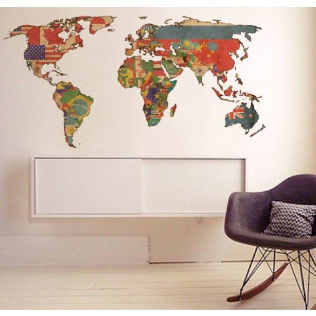 Adesivo de Parede Mapa Mundi  Globos  Pinterest