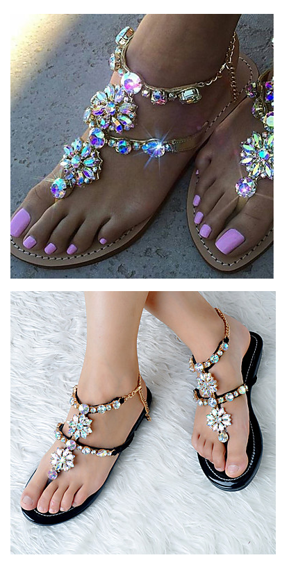 0f725956c The most gorgeous rhinestone flat sandals for stylish women. Comes in black  and gold colors. €47.76