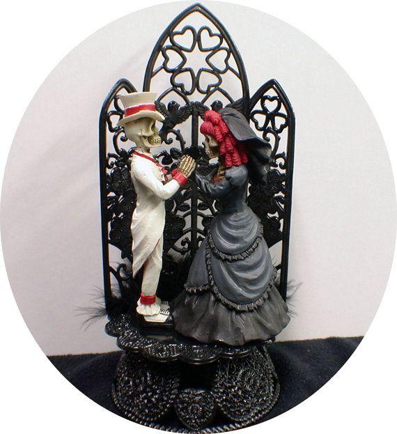 SEXY Gothic Black Wedding Cake topper Halloween Pumpkin Fall funny goth