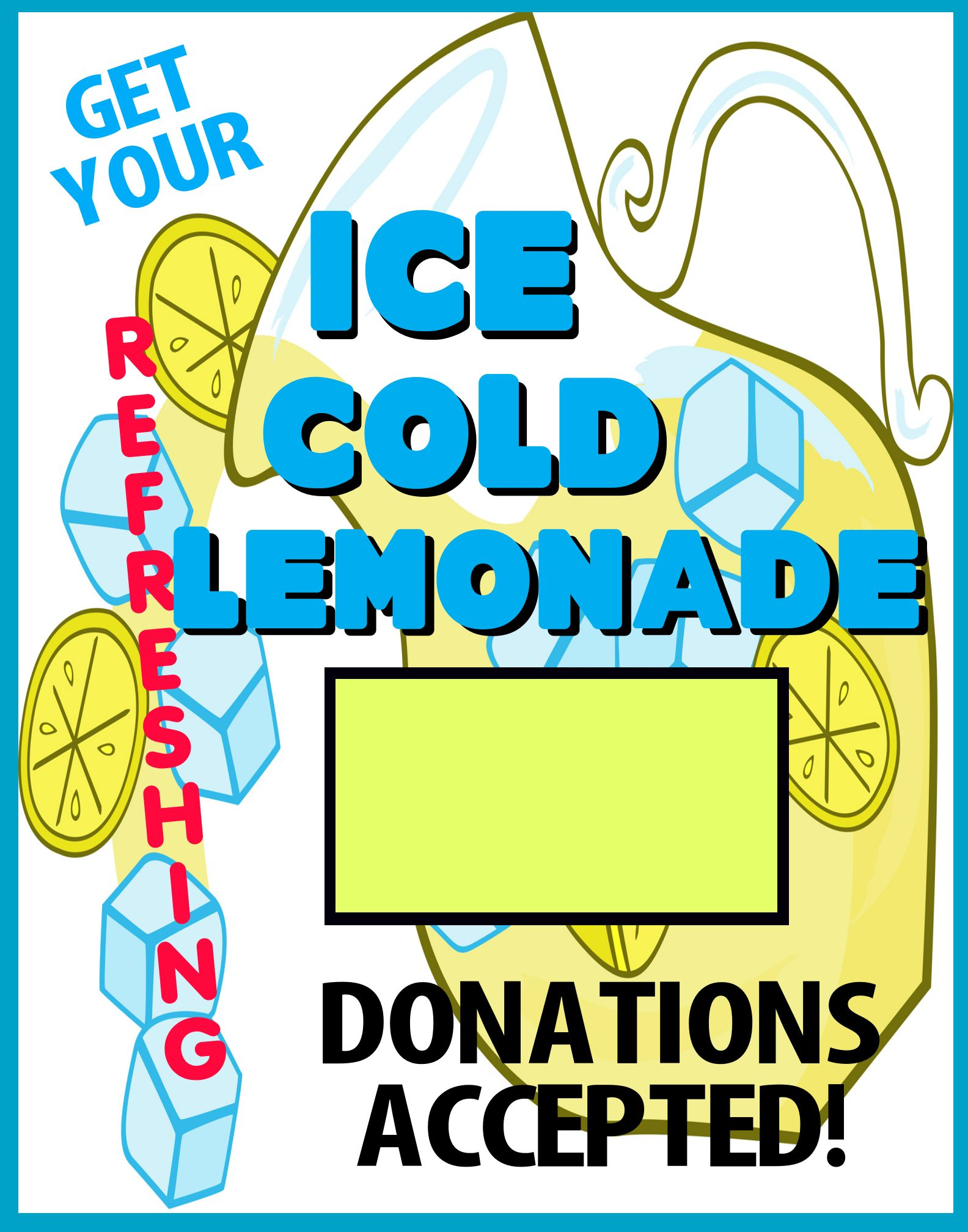 Create a Ice Cold Lemonade Stand Promotion Poster | Fundraising ...