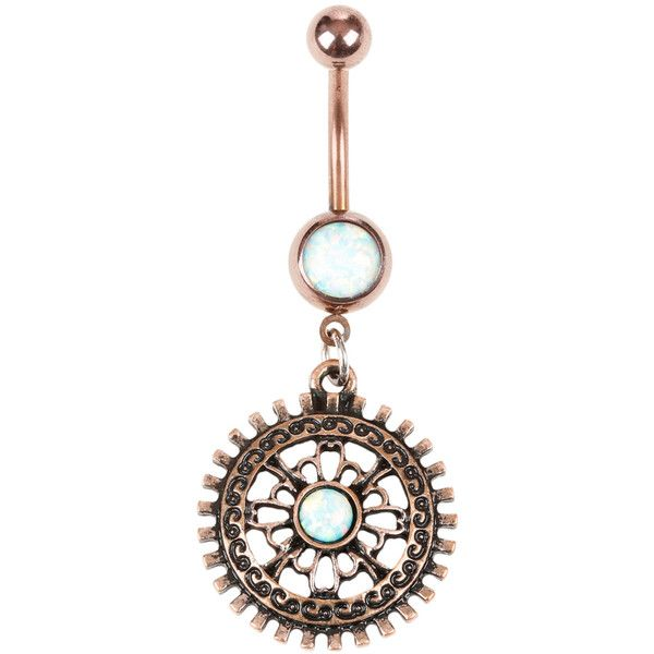 Hot Topic 14G Steel Burnished Gold Gear White Opal Navel Barbell
