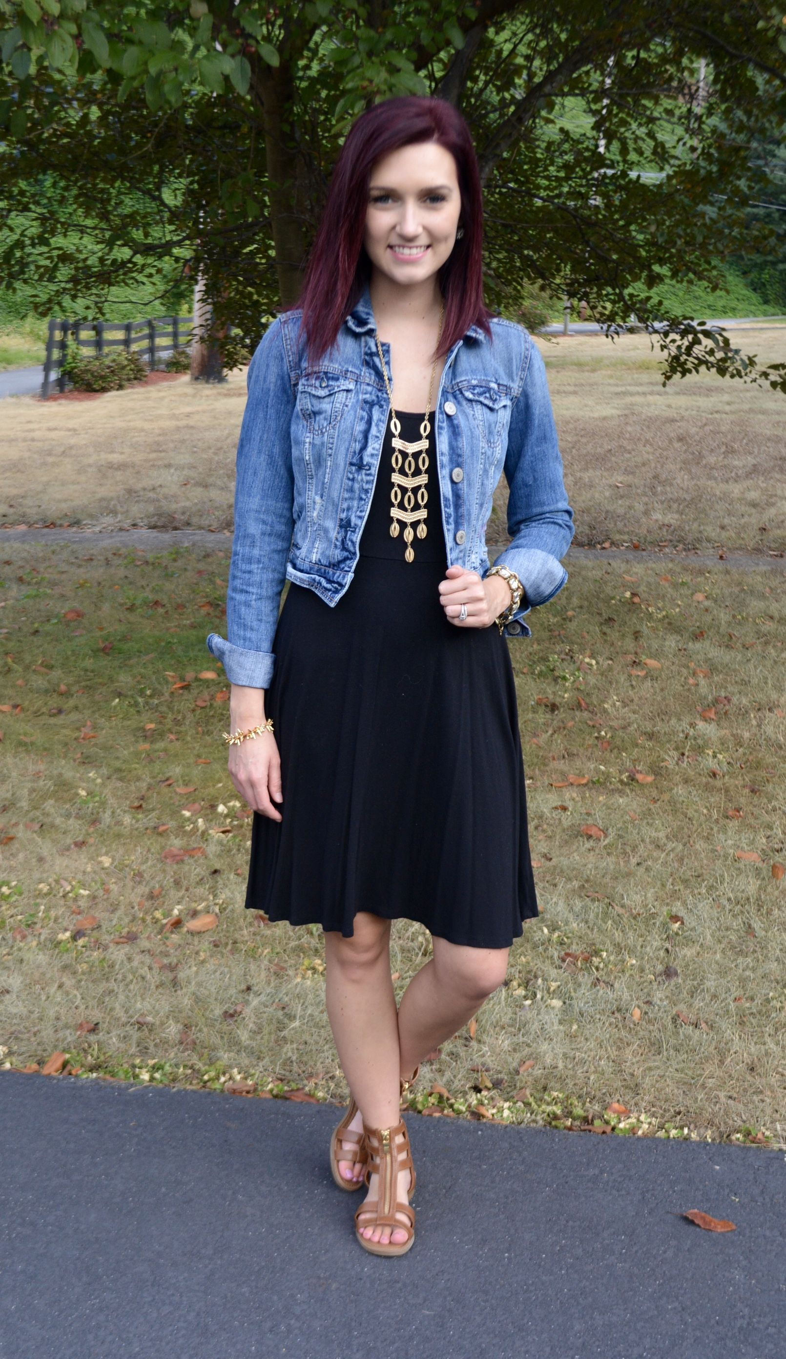 Casual black dress u denim jacket twenty something fashion in