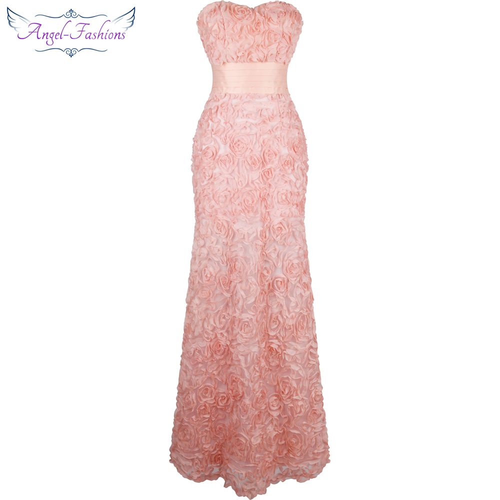 Angel-fashions Off Shoulder Chiffon Flowers Ruched Long Evening ...