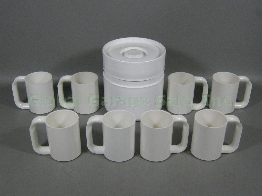 8 Massimo Vignelli Heller Solid White Melamine Mug Cups + Sergio Asti Ice Bucket