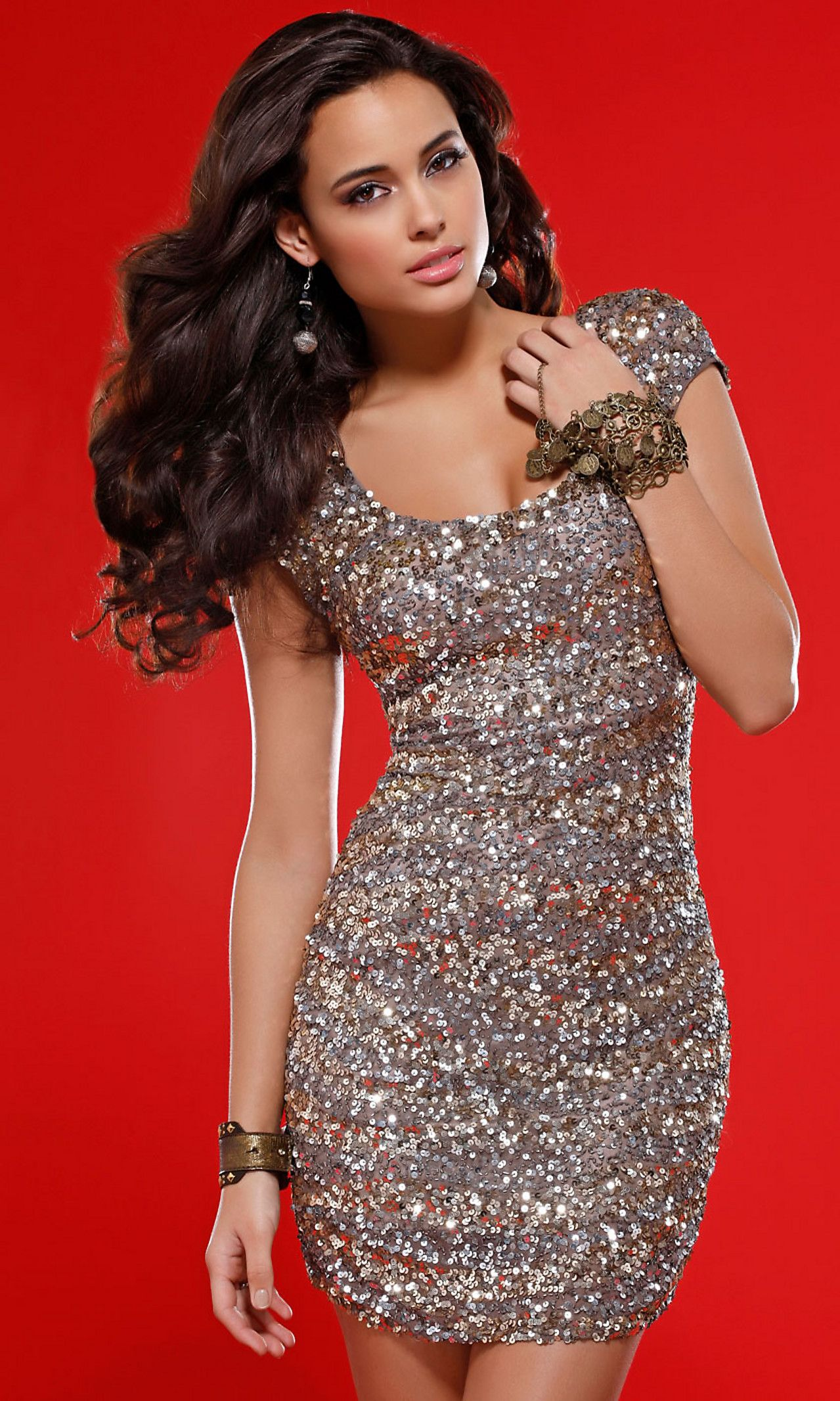 Sequin homecoming dress with cap sleeves sleeve banquet dresses
