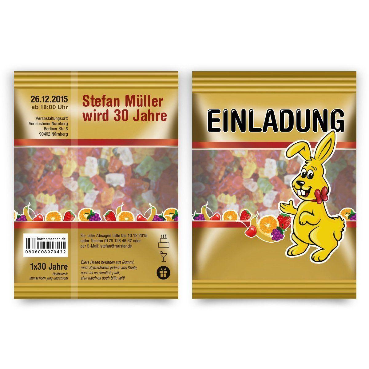 Einladungen (30 Stück) Als Gummibärchen Packung Hasen Einladungskarten