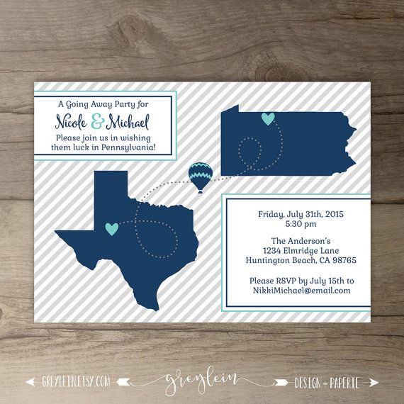 Going Away Party Invitations / Invites / Moving Announcements