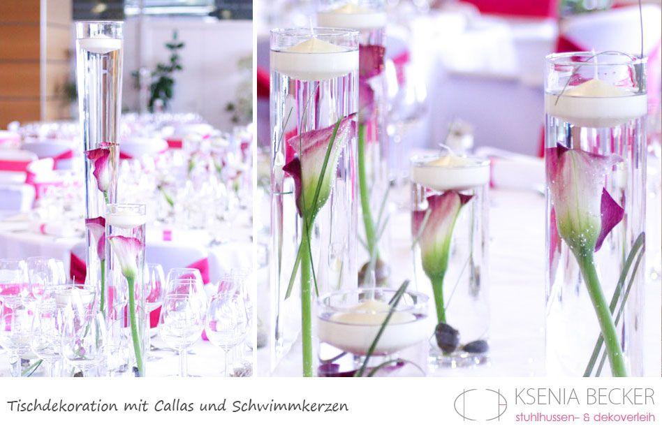 tischdekoration hochzeit glasvasen mit callas