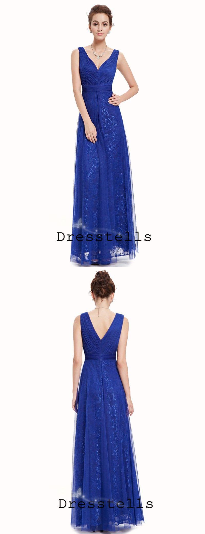 Royal blue aline vneck floorlength bridesmaid prom dress with