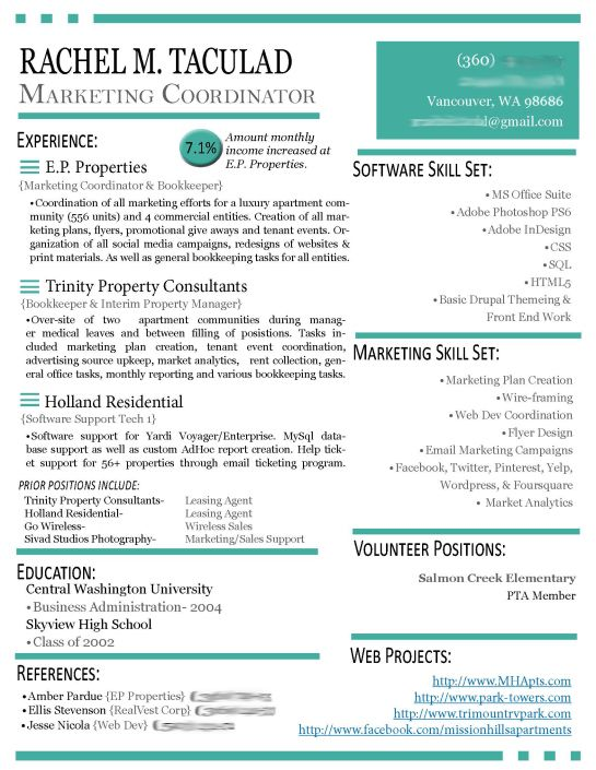 Modern Résumé Update Marketing resume and Creative - web services manager sample resume