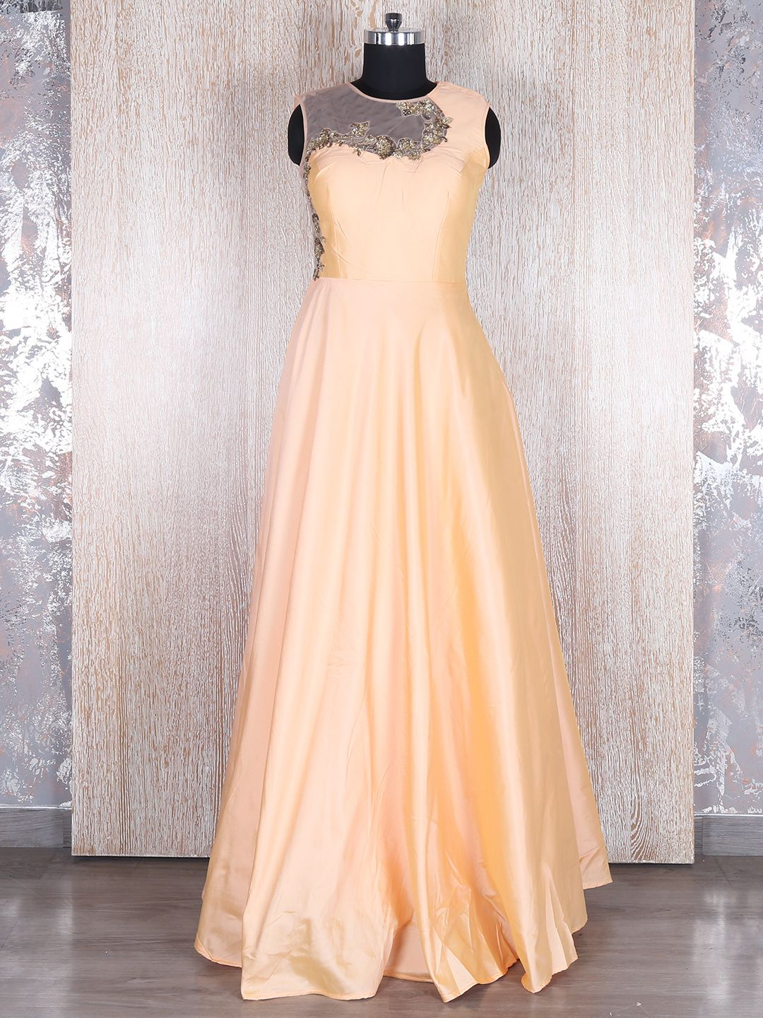 Shop Peach silk classy gown online from G3fashion India. Brand - G3 ...